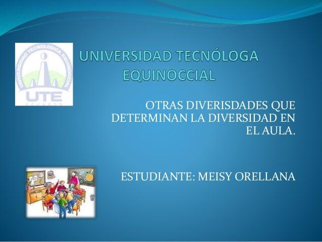OTRAS DIVERISDADES QUE DETERMINAN LA DIVERSIDAD EN EL AULA. ESTUDIANTE: MEISY ORELLANA