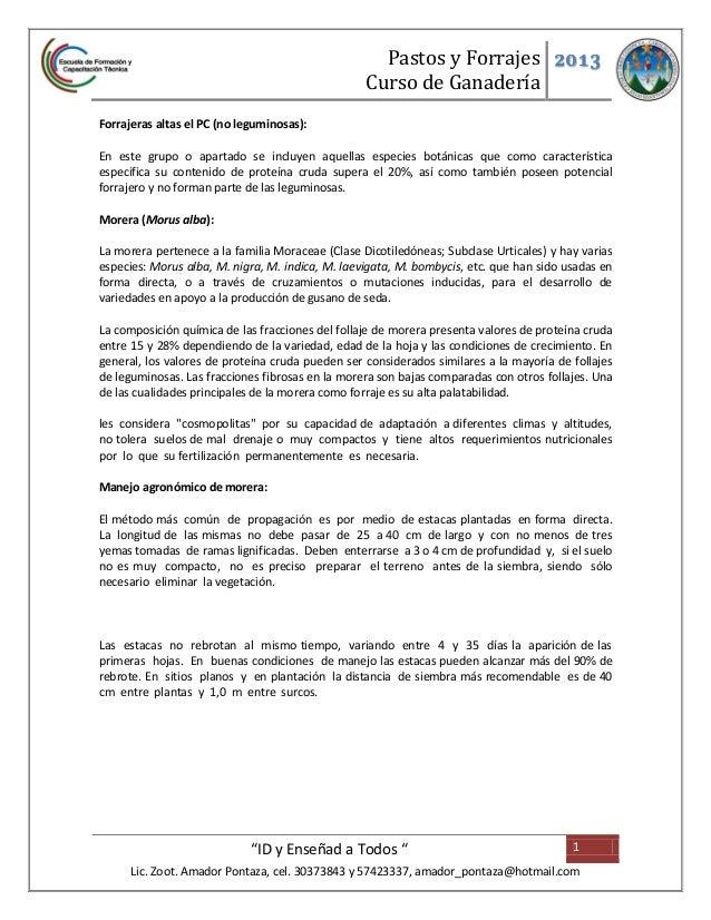 Pastos y Forrajes 2013                                                  Curso de GanaderíaForrajeras altas el PC (no legum...