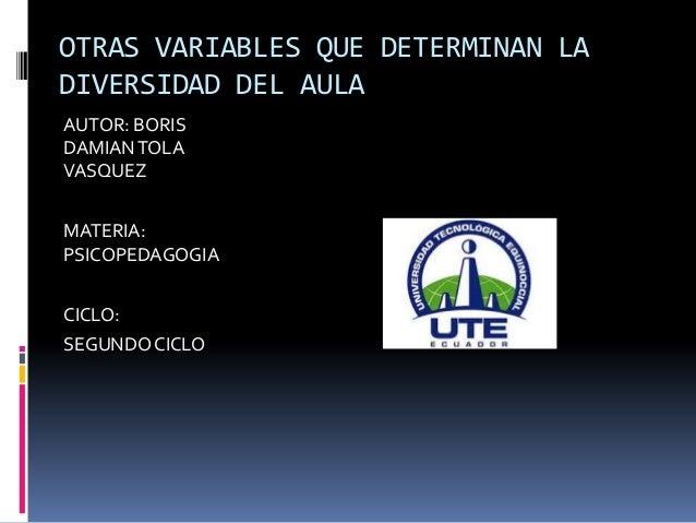 OTRAS VARIABLES QUE DETERMINAN LA DIVERSIDAD DEL AULA AUTOR: BORIS DAMIAN TOLA VASQUEZ MATERIA: PSICOPEDAGOGIA CICLO: SEGU...