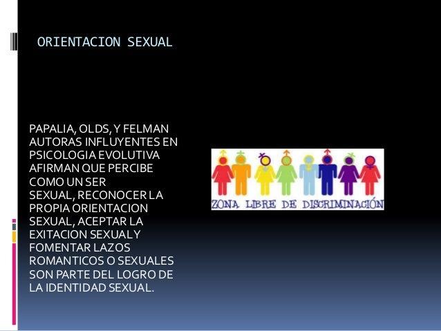 ORIENTACION SEXUAL  PAPALIA, OLDS, Y FELMAN AUTORAS INFLUYENTES EN PSICOLOGIA EVOLUTIVA AFIRMAN QUE PERCIBE COMO UN SER SE...