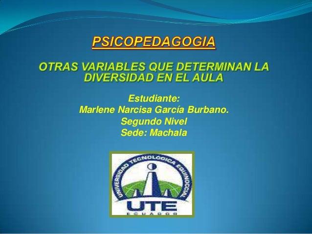 Estudiante:Marlene Narcisa García Burbano.        Segundo Nivel        Sede: Machala