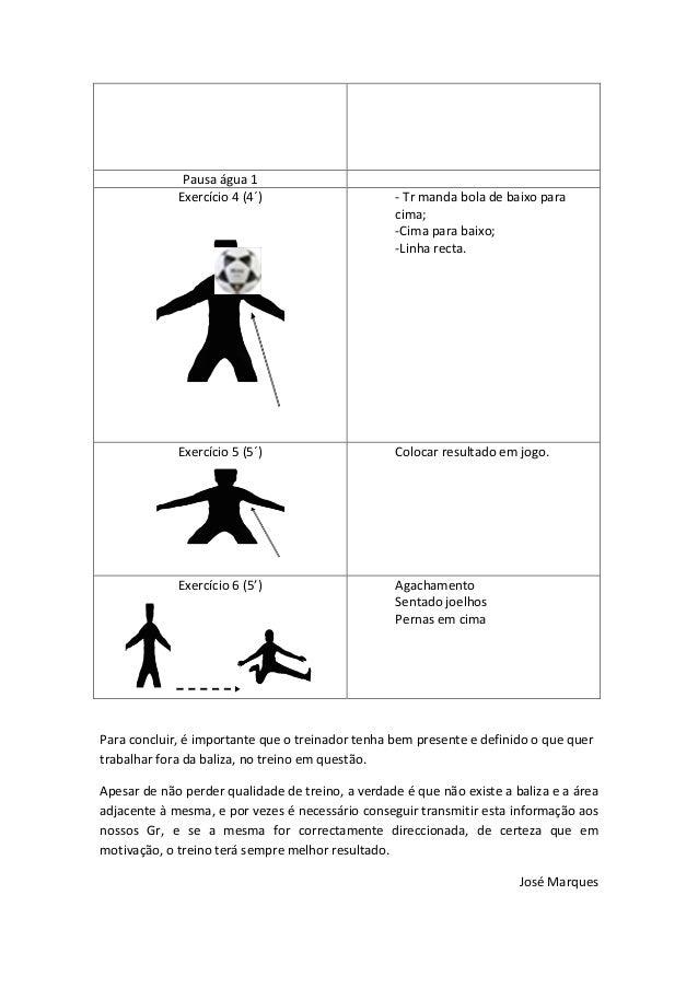 Pausa água 1 Exercício 4 (4´) - Tr manda bola de baixo para cima; -Cima para baixo; -Linha recta. Exercício 5 (5´) Colocar...