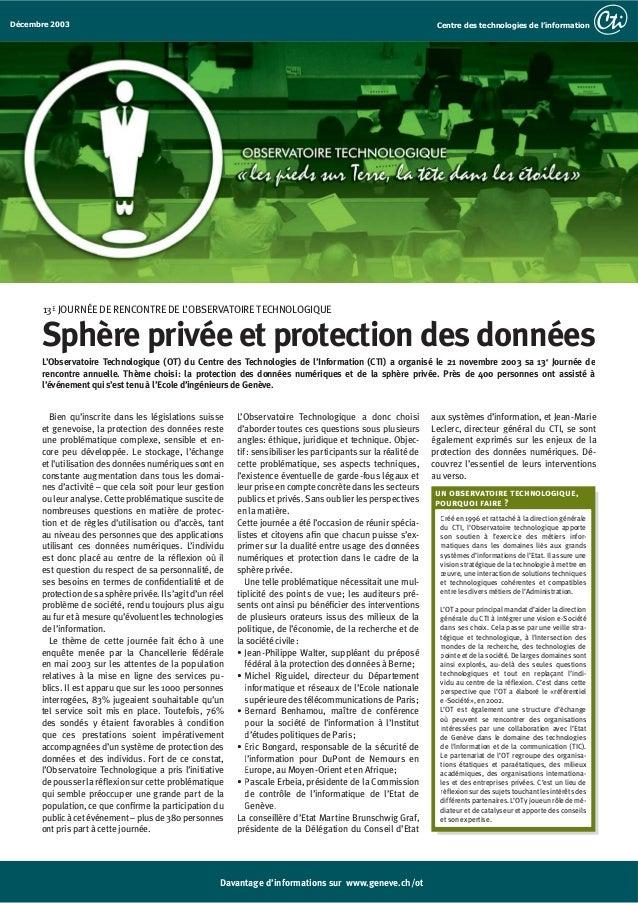 2003 - Sphère privée et protection des données