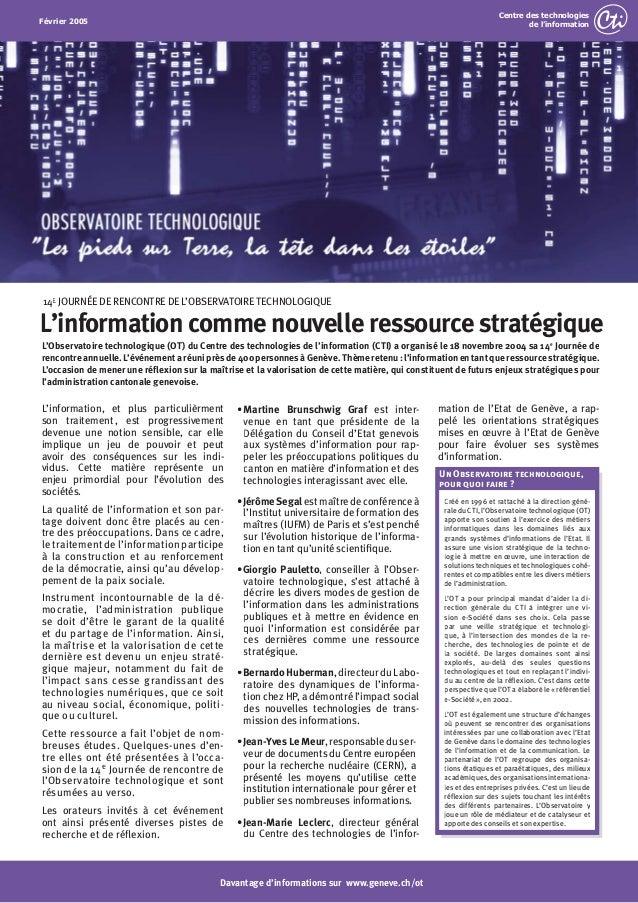 2004 - L'information comme nouvelle ressource stratégique