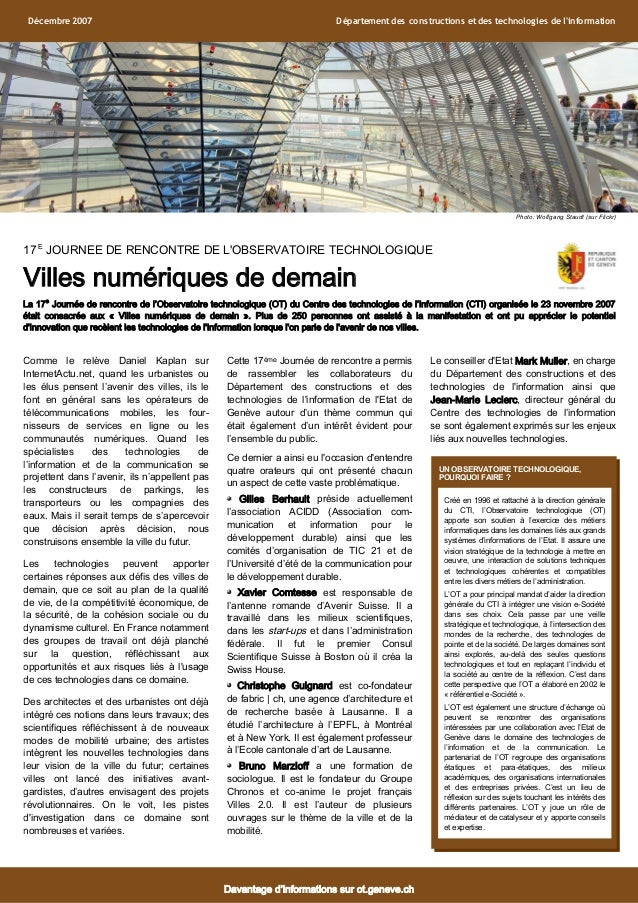 17 E JOURNEE DE RENCONTRE DE L'OBSERVATOIRE TECHNOLOGIQUE Villes numériques de demain La 17e Journée de rencontre de l'Obs...