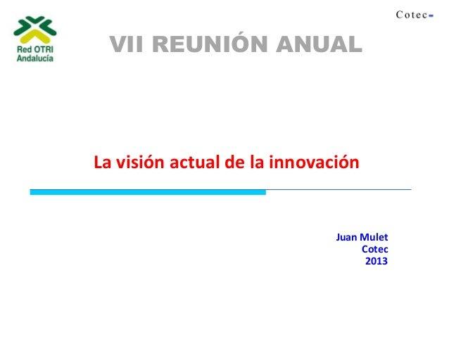 Juan Mulet Cotec 2013 La visión actual de la innovación VII REUNIÓN ANUAL