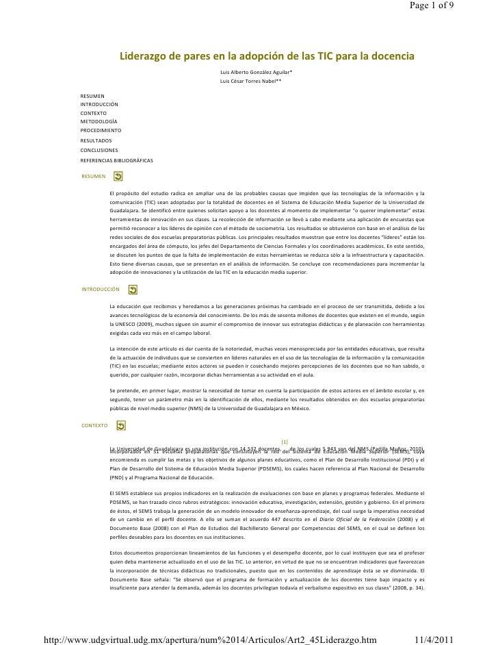 Page 1 of 9                                    LiderazgodeparesenlaadopcióndelasTICparaladocencia            ...