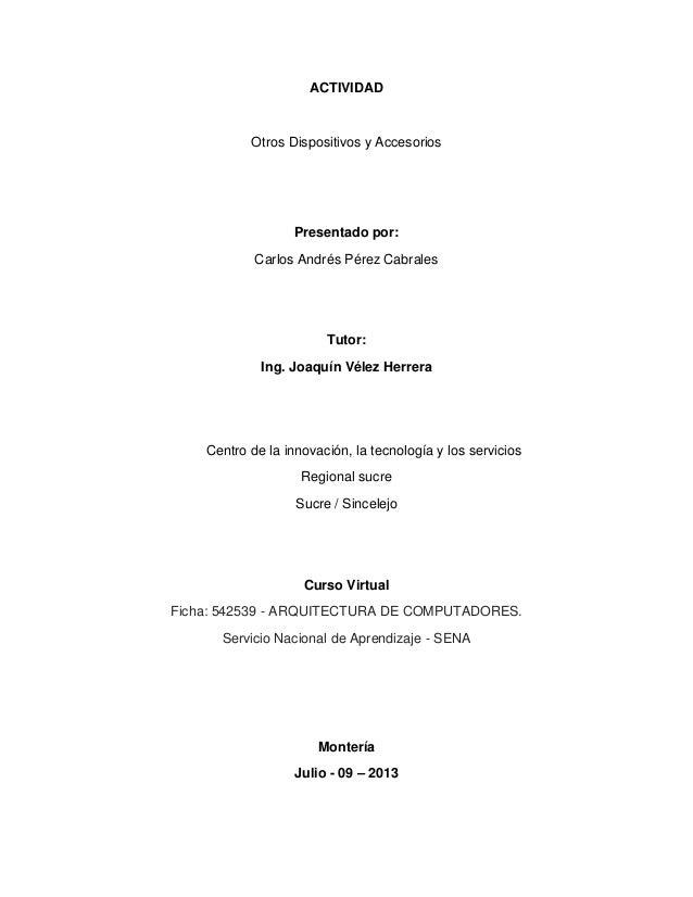 ACTIVIDAD  Otros Dispositivos y Accesorios  Presentado por: Carlos Andrés Pérez Cabrales  Tutor: Ing. Joaquín Vélez Herrer...