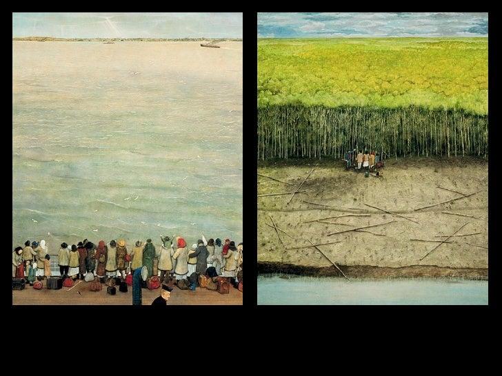William Kurelek This is a series of paintings of Ukrainian pioneers.  They were huge and wonderful.