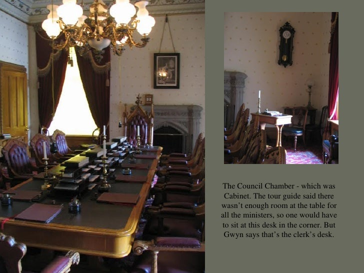 The Council Chamber - which was Cabinet. The tour guide said there wasn't enough room at the table for all the ministers, ...