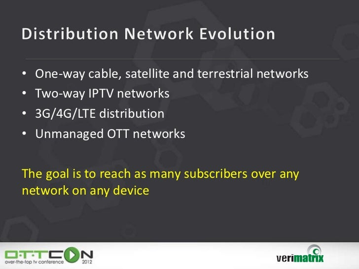 •   One-way cable, satellite and terrestrial networks•   Two-way IPTV networks•   3G/4G/LTE distribution•   Unmanaged OTT ...