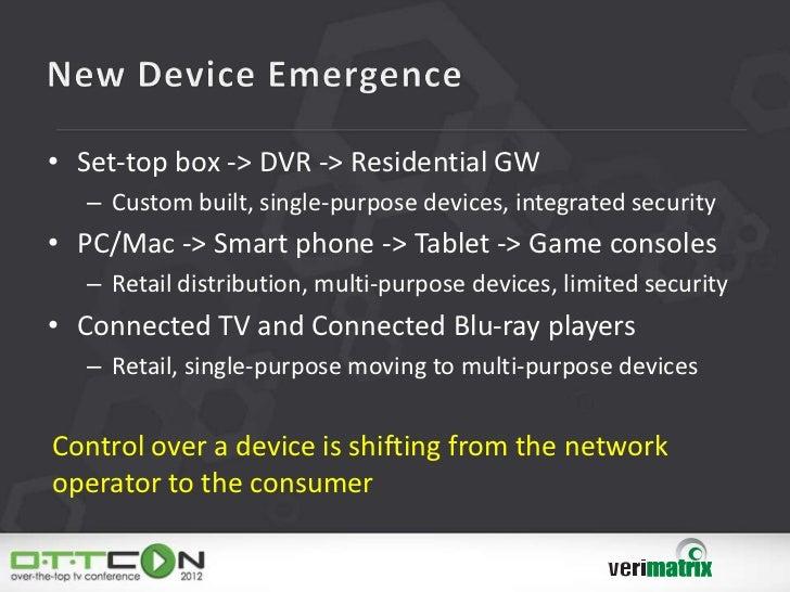 • Set-top box -> DVR -> Residential GW   – Custom built, single-purpose devices, integrated security• PC/Mac -> Smart phon...