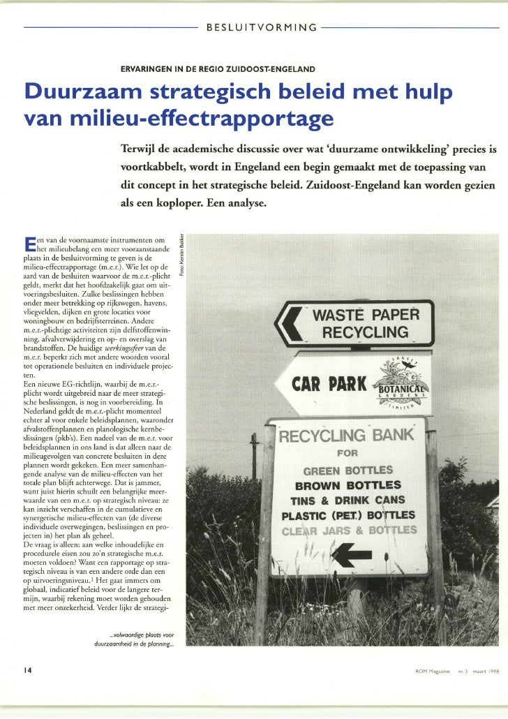 Artikel in ROM Magazine maart 1998 SEA in UK (strategische m.e.r. in Engeland)