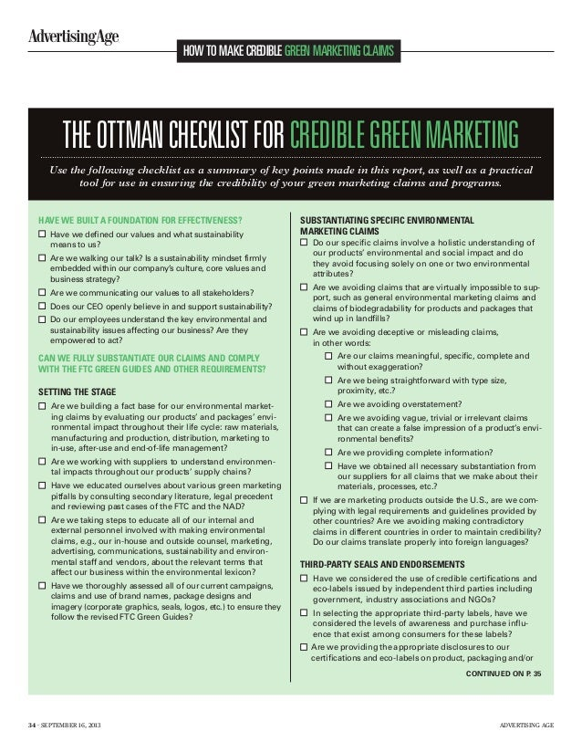 HOW TO MAKE CREDIBLE GREEN MARKETING CLAIMS  THE OTTMAN CHECKLIST FOR CREDIBLE GREEN MARKETING Use the following checklist...