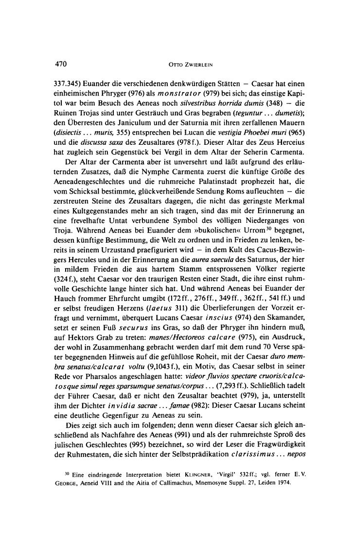 470                                    OTTO ZWIERLEIN337.345) Euander die verschiedenen denkwurdigen Statten - Caesar hat ...