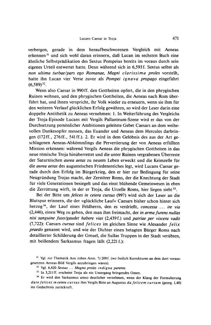 Lucans Caesar in Troja                                   471verbergen, gerade in dem heraufbeschworenen Vergleich mit Aene...