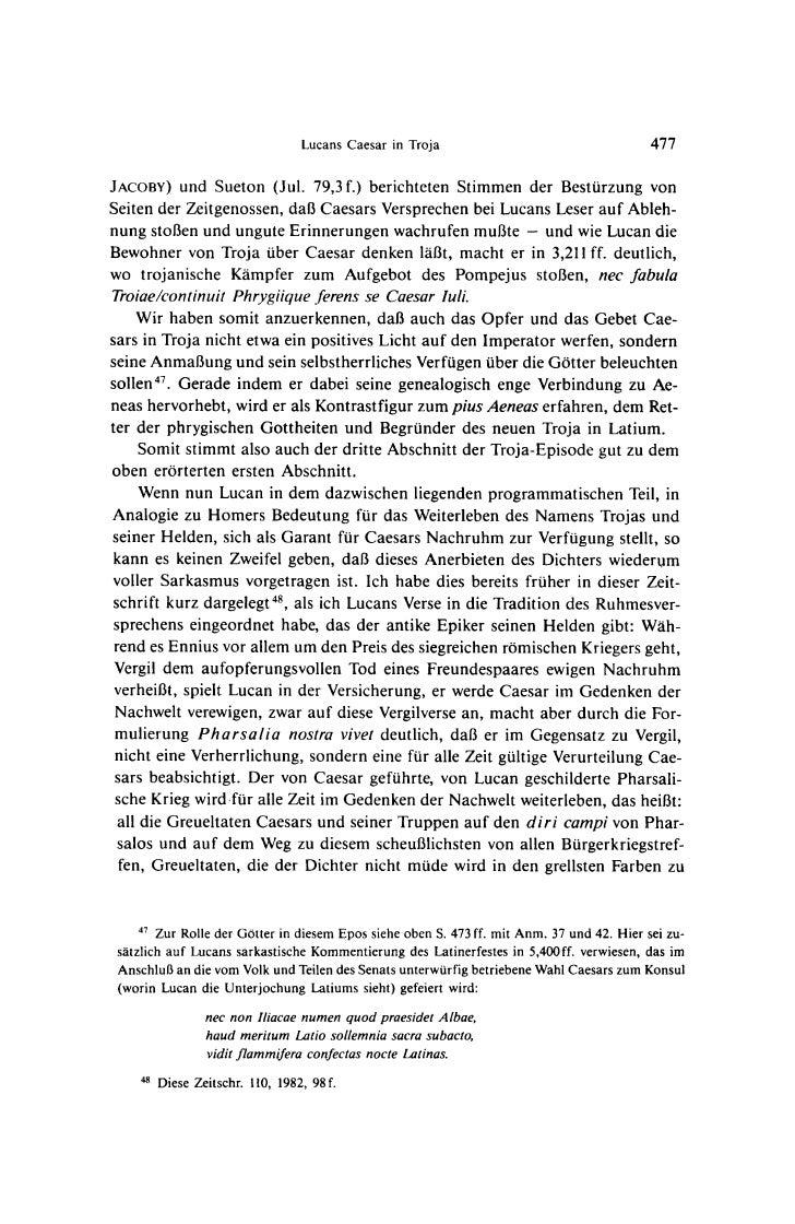 Lucans Caesar in Troja                                  477JACOBY)   und Sueton (Jul. 79,3 f.) berichteten Stimmen der Bes...
