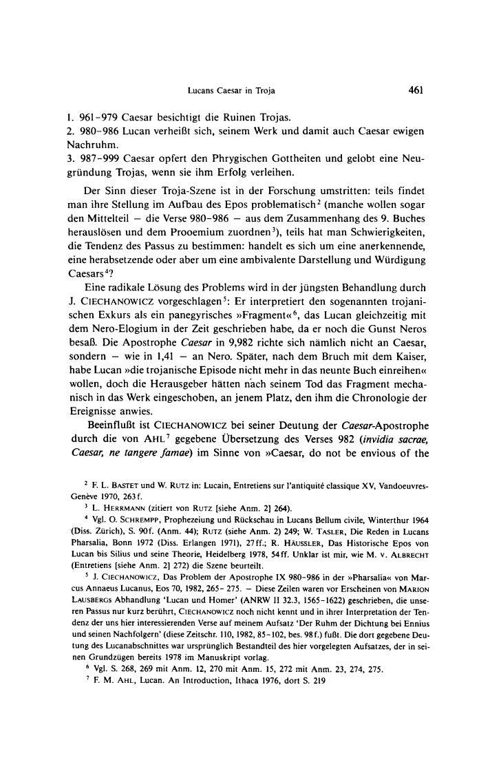 Lucans Caesar in Troja                                       4611. 961-979 Caesar besichtigt die Ruinen Trojas.2. 980-986 ...
