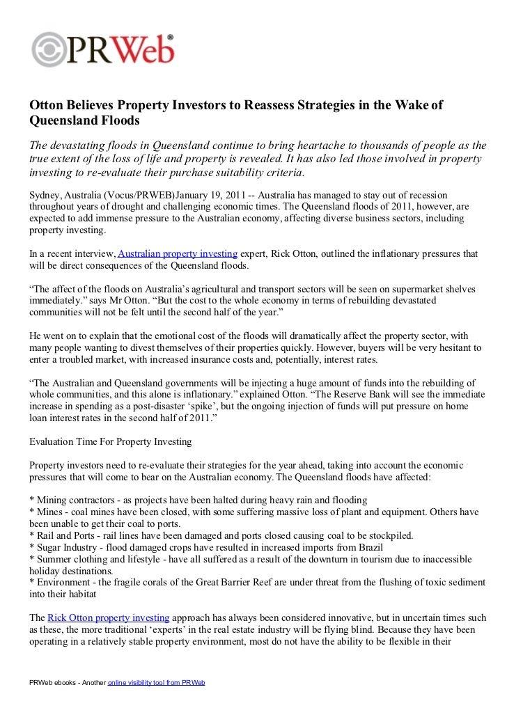 Otton Believes Property Investors to Reassess Strategies in the Wake ofQueensland FloodsThe devastating floods in Queensla...