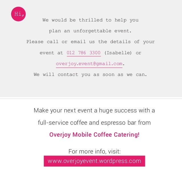 Overjoy Mobile Coffee Catering Proposal