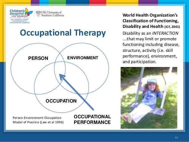 occupational therapy people with intellectual Occupational therapy, physical therapy, and speech/language therapy these services differ from the therapies provided through the regular medicaid state plan in that the purpose is maintenance of skill, range of motion, etc rather than rehabilitation.
