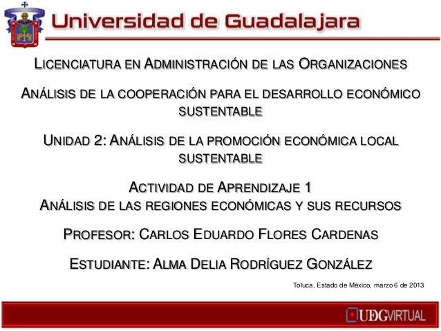 LICENCIATURA EN ADMINISTRACIÓN DE LAS ORGANIZACIONESANÁLISIS DE LA COOPERACIÓN PARA EL DESARROLLO ECONÓMICO               ...