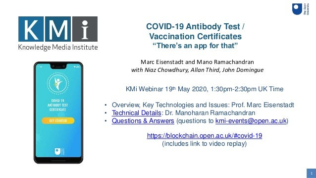 """1 COVID-19 Antibody Test / Vaccination Certificates """"There's an app for that"""" KMi Webinar 19th May 2020, 1:30pm-2:30pm UK ..."""