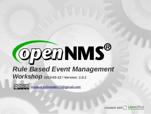 Rule Based Event ManagementWorkshop 2013-03-12 / Version: 1.0.1         markus.schneider73@gmail.com                      ...