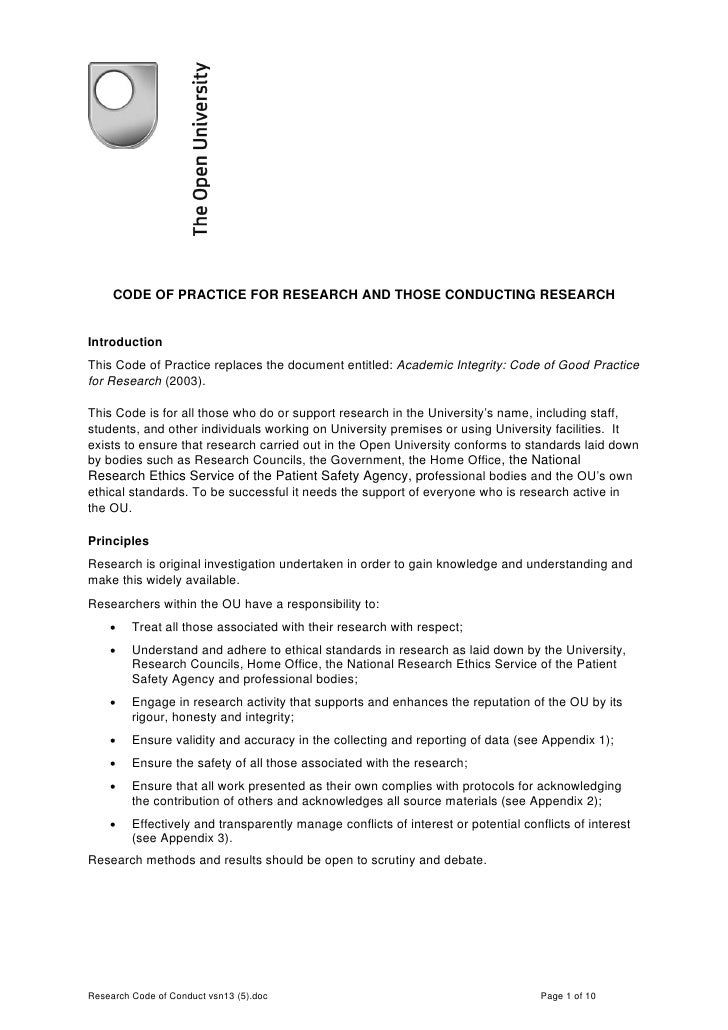 CODE OF PRACTICE FOR RESEARCH AND THOSE CONDUCTING RESEARCH   Introduction This Code of Practice replaces the document ent...