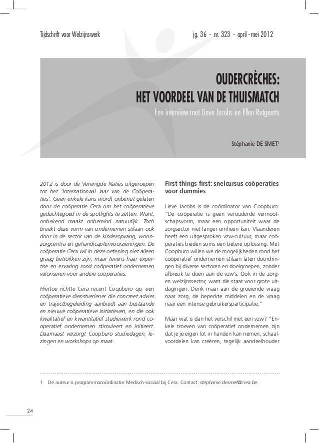Tijdschrift voor Welzijnswerk                                       jg. 36 - nr. 323 - april - mei 2012                   ...