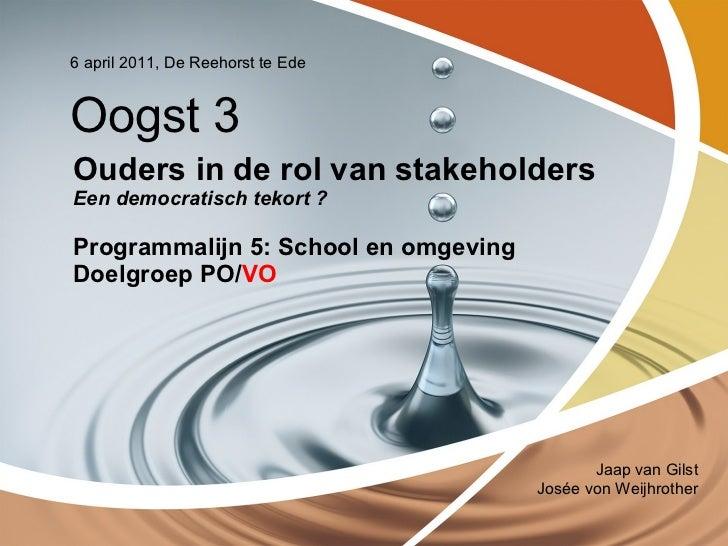 Ouders in de rol van stakeholders Een democratisch tekort ?  Programmalijn 5: School en omgeving Doelgroep PO/ VO 6 april ...