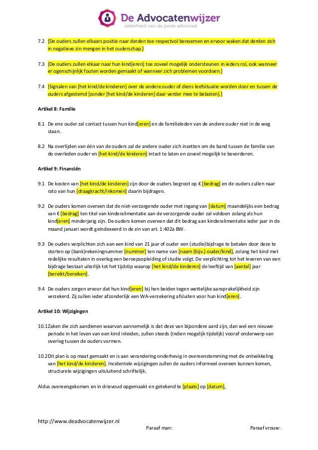 informele ontslagbrief Ouderschapsplan  De Advocatenwijzer informele ontslagbrief