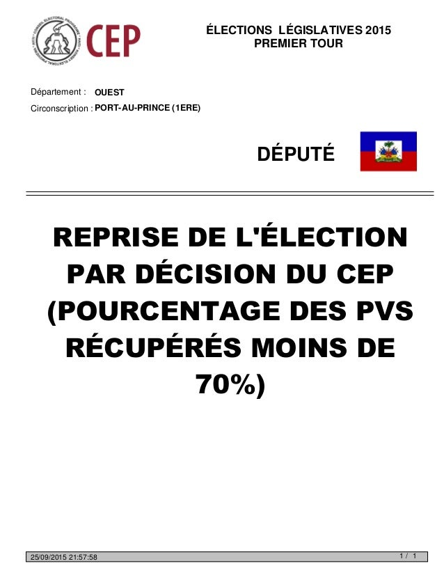 OUESTDépartement : Circonscription : PORT-AU-PRINCE (1ERE) DÉPUTÉ REPRISE DE L'ÉLECTION PAR DÉCISION DU CEP (POURCENTAGE D...