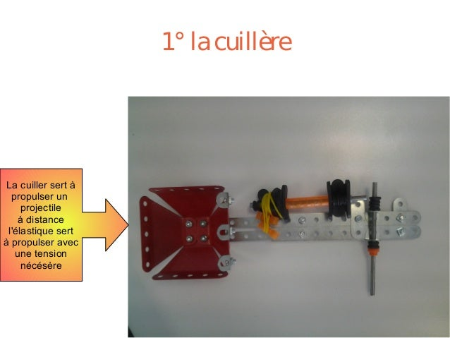 1°lacuillère La cuiller sert à propulser un projectile à distance l'élastique sert à propulser avec une tension nécésère