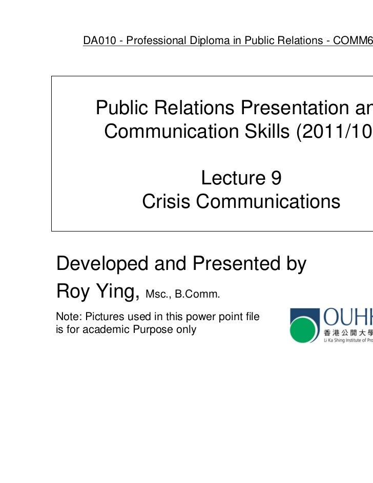 DA010 - Professional Diploma in Public Relations - COMM6005EP        Public Relations Presentation and         Communicati...