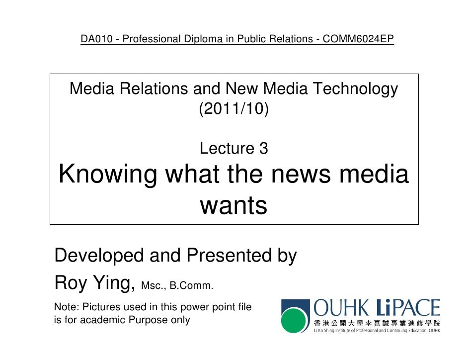 DA010 - Professional Diploma in Public Relations - COMM6024EP   Media Relations and New Media Technology                  ...