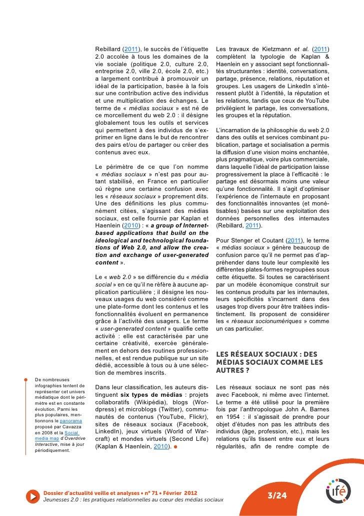 Rebillard (2011), le succès de l'étiquette     Les travaux de Kietzmann et al. (2011)                               2.0 ac...