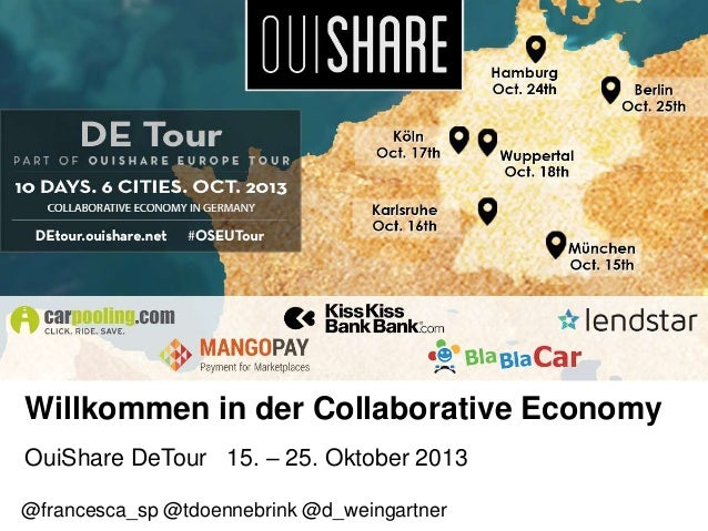 Willkommen in der Collaborative Economy OuiShare DeTour 15. – 25. Oktober 2013 @francesca_sp @tdoennebrink @d_weingartner
