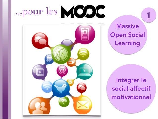 7 Massive Open Social Learning Intégrer le social affectif motivationnel 1...pour les