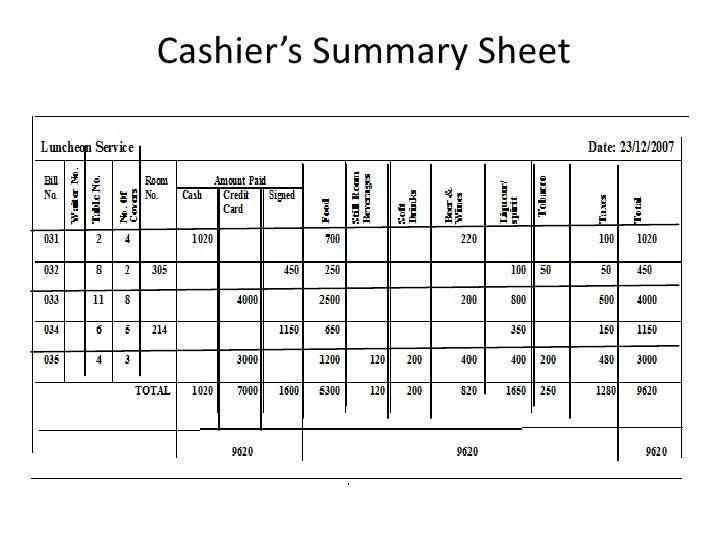 cash register count sheet