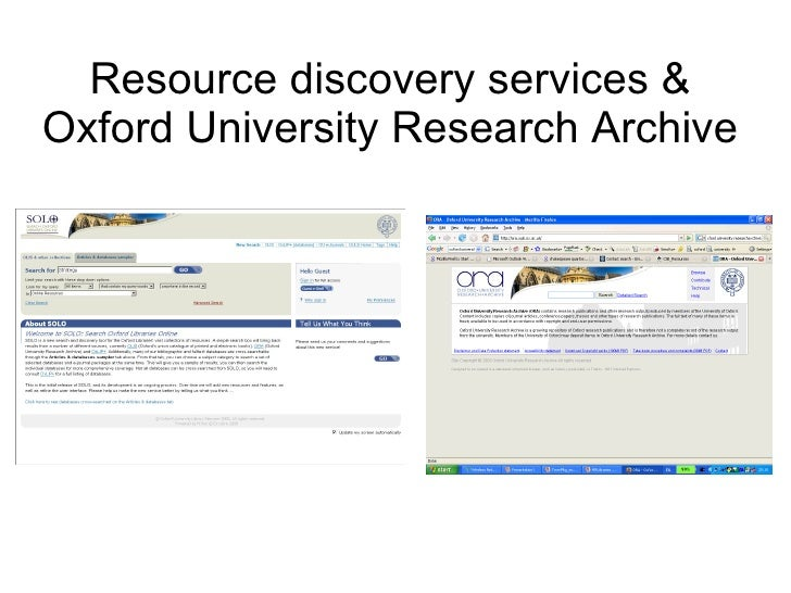 Resource discovery services & Oxford University Research Archive