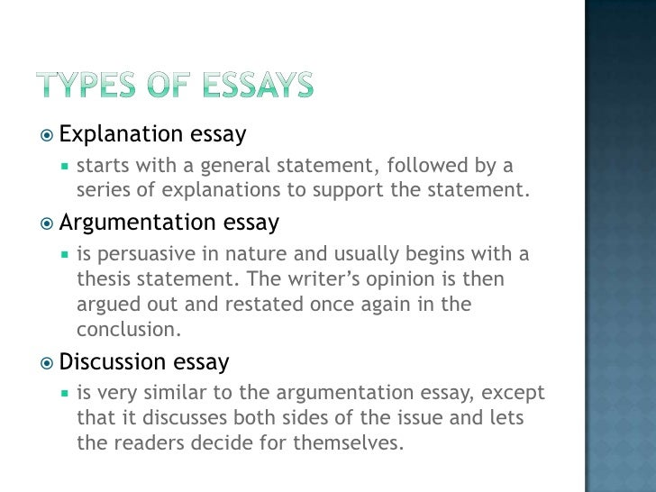 types of essays  draft essay 5  explanation