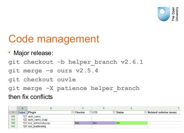 Code management • Major release: git checkout -b helper_branch v2.6.1 git merge –s ours v2.5.4 git checkout ouvle git merg...