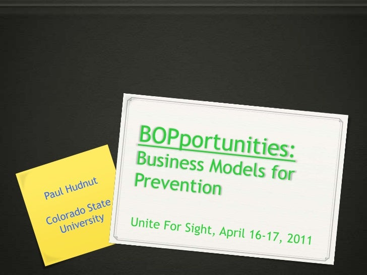 """Business Models for Prevention: """"An ounce of prevention..."""""""