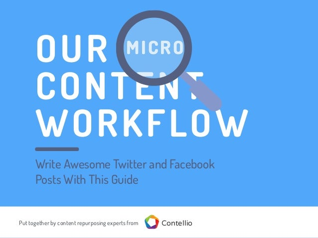OUR CONTENT WORKFLOW MICRO Put together by content repurposing experts from Contellio Write Awesome Twitter and Facebook P...