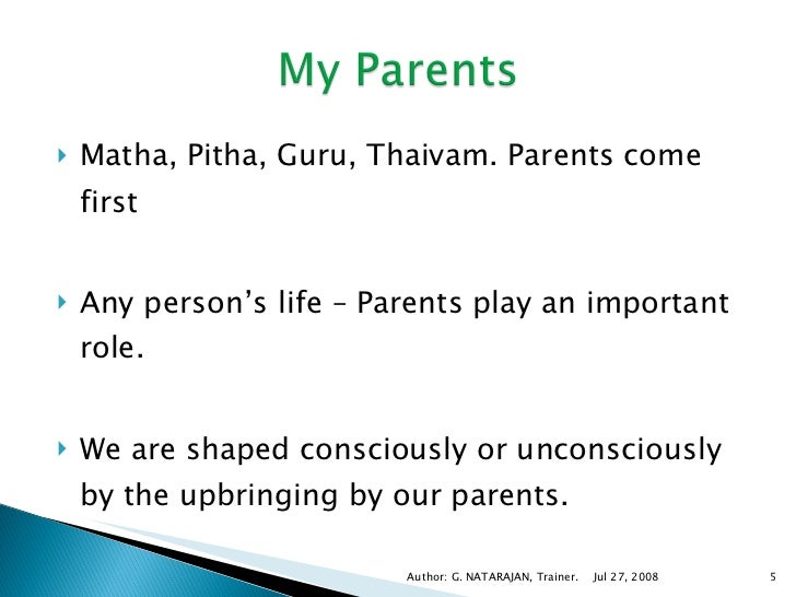 role of parents in our life