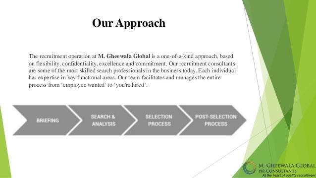 Our Approach The recruitment operation at M. Gheewala Global is a one-of-a-kind approach, based on flexibility, confidenti...
