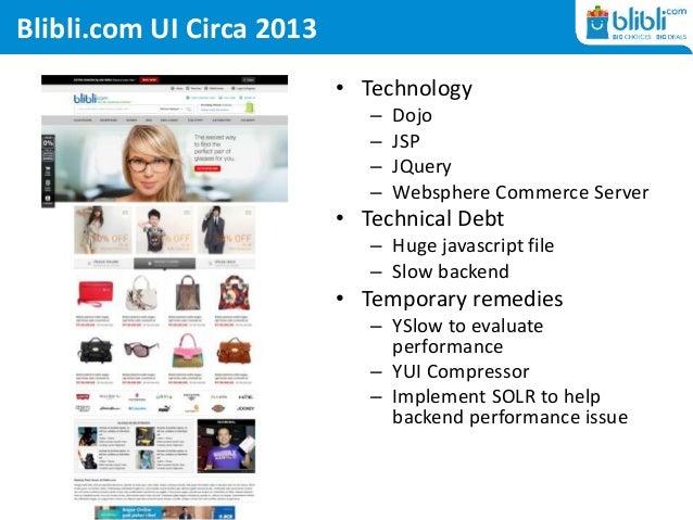 Blibli.com UI Circa 2013 • Technology – Dojo – JSP – JQuery – Websphere Commerce Server • Technical Debt – Huge javascript...
