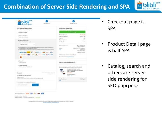 Combination of Server Side Rendering and SPA • Checkout page is SPA • Product Detail page is half SPA • Catalog, search an...