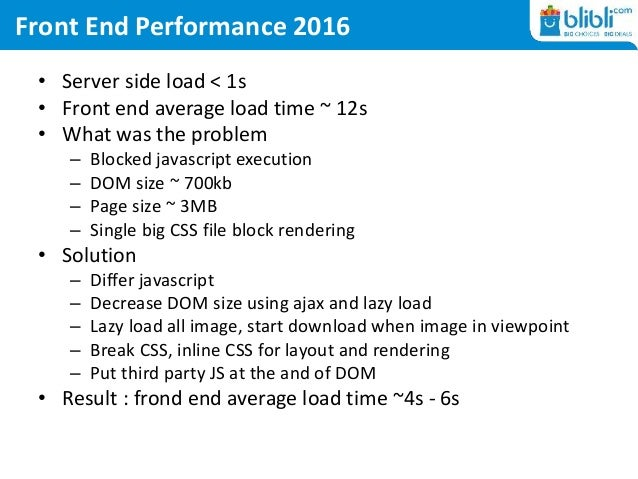 Front End Performance 2016 • Server side load < 1s • Front end average load time ~ 12s • What was the problem – Blocked ja...